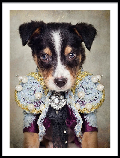 Vossington wall art and fine art photography of a dressed-up cute dog with diamonds and pearls