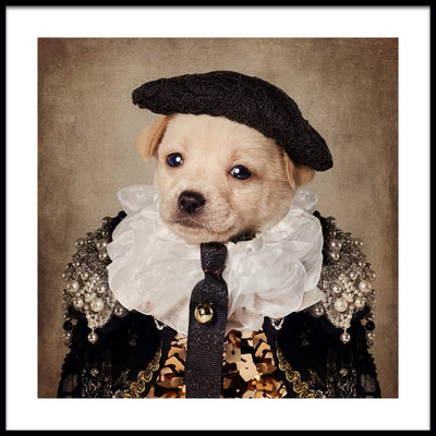 Vossington wall art and fine art photography of a dressed-up cute dog with a hat and an extravagant costume