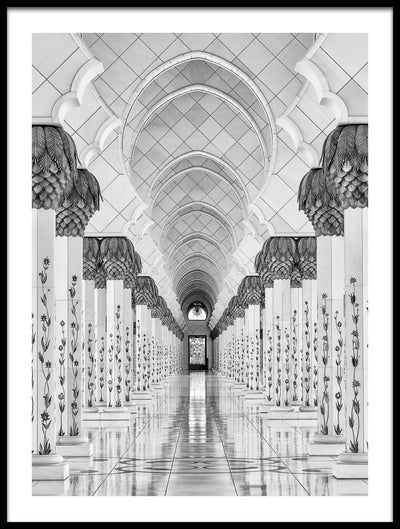 Vossington wall art and fine art photography of a mosque with geometric shapes and decorative temple columns
