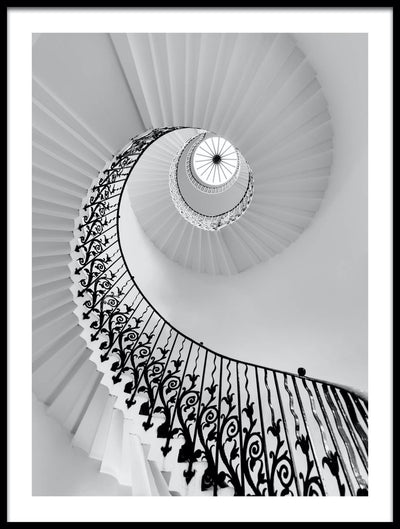 Vossington wall art and fine art photography of an aesthetic staircase leading up to a skylight