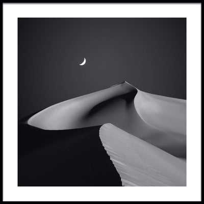 Vossington wall art and fine art photography of a desert scenery at night with a crescent moon above a large sand dune