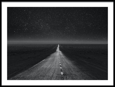 Vossington wall art and fine art photography of a dark desert highway on a starry night