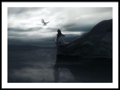 Vossington wall art and fine art photography of a windy landscape scenery with a flying white dove and a woman with a long black dress