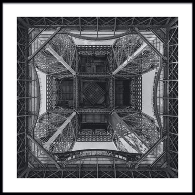 Vossington wall art and fine art photography of the geometric shapes of the Eiffel Tower in Paris, France, viewed from its base