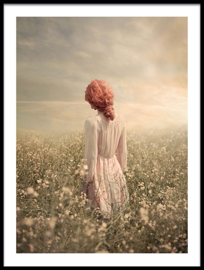 Vossington wall art and fine art photography of a rural landscape scenery with a woman with red hair wearing a vintage dress in a field of flowers