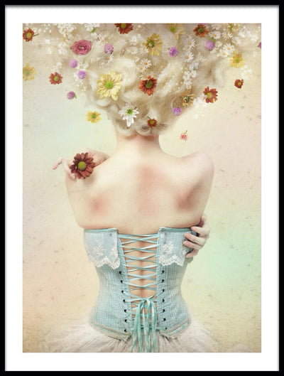 Vossington wall art and fine art photography of a woman with flowers in her blonde hair