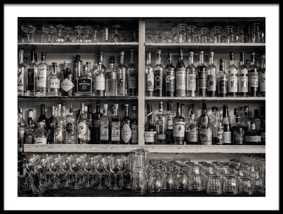 Vossington wall art and fine art photography of a bar shelf full of bottles of whisky and other alcoholic spirits