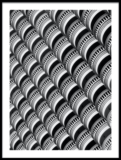 Vossington wall art and fine art photography of the geometric shapes of abstract balconies of a building