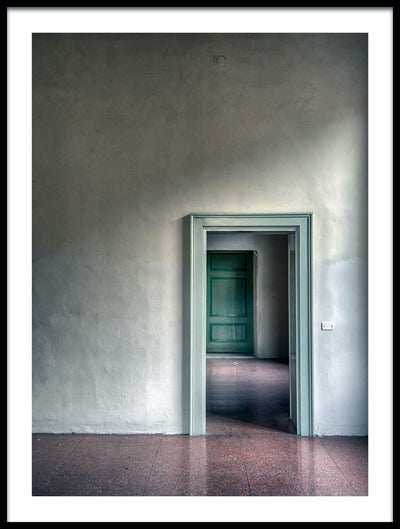 Vossington wall art and fine art photography of a room with soft shadows and neutral tones, and a doorway leading to another room with a green door