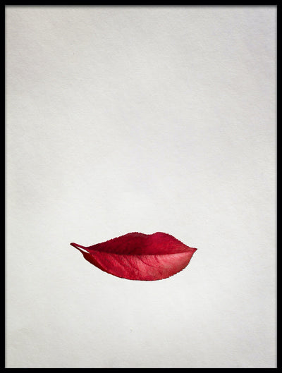 Vossington wall art and fine art photography of smiling red lips out of an autumn leaf