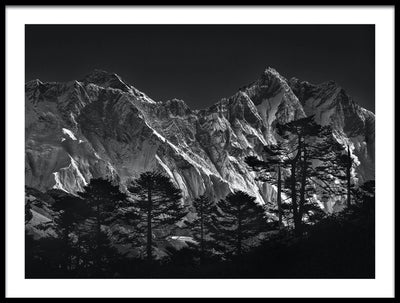 Vossington wall art and fine art photography of a majestic snowy mountain range with pine trees in the foreground against a dark sky