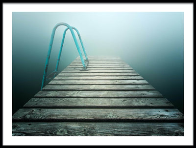 Vossington wall art and fine art photography of a wooden pier with a ladder extending into a dreamy foggy lake