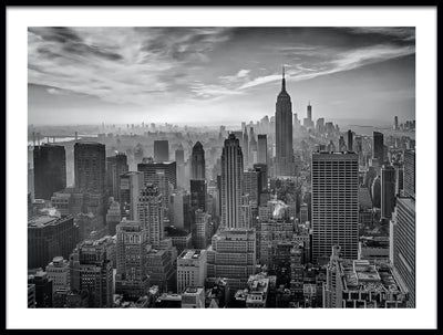 Vossington wall art and fine art photography of an urban scenery of the Empire State Building in Manhattan and the skyline of New York City on a foggy day