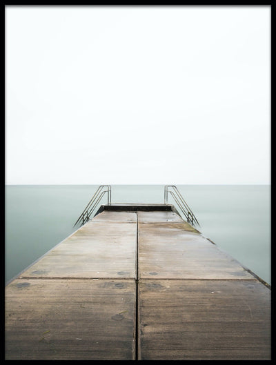 Vossington wall art and fine art photography of a minimalist ocean landscape with an empty pier in the water
