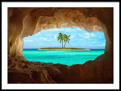 Vossington wall art and fine art photography of two palm trees on a tropical paradise island seen from the inside of a cave