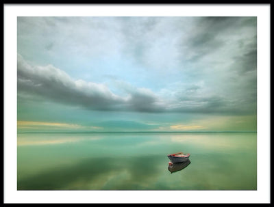 Vossington wall art and fine art photography of a rowboat resting the surface of a calm ocean in a painterly style