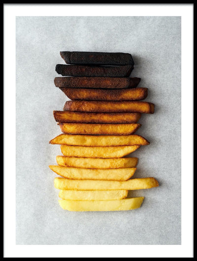 Vossington wall art and fine art photography of French fries forming a gradient of colors from light yellow to black