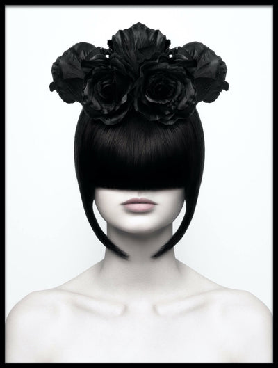 Vossington wall art and fine art photography of a woman hiding her eyes behind a mask of hair only revealing her lips, and wearing a high-fashion floral hat made of black roses