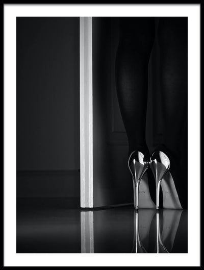 Vossington wall art and fine art photography of the legs of a woman standing in a doorway wearing silver high-heel shoes reflected on the floor