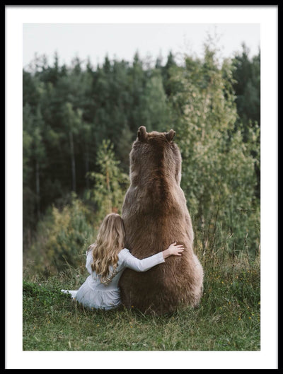 Vossington wall art and fine art photography of the loving friendship and sisterhood between a girl and a big brown bear tenderly embracing