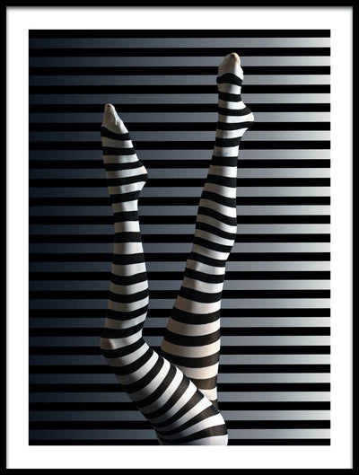 Vossington wall art and fine art photography of a girl's legs with striped tights blending into the stripes in the background