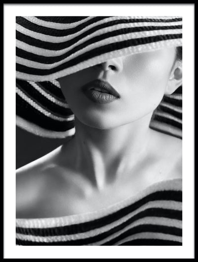 Vossington wall art and fine art photography of a fashion model wearing a striped haute couture hat covering her eyes