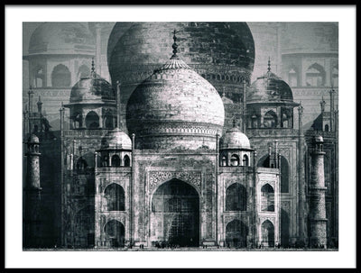 Vossington wall art and fine art photography of the beautiful architecture of the Taj Mahal, the ivory-white marble mausoleum in India