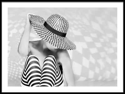 Vossington wall art and fine art photography of a woman with a hat and thigh-high socks filled with patterns