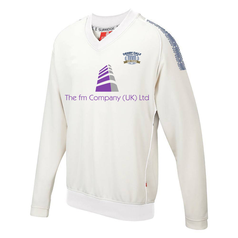 Denby Dale CC Playing Sweater with sponsor print and embroidered badge