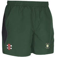 Green Moor CC Storm shorts with embroidered badge and initials