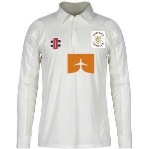 Green Moor CC LS playing Shirt with embroidered badge and sponsor