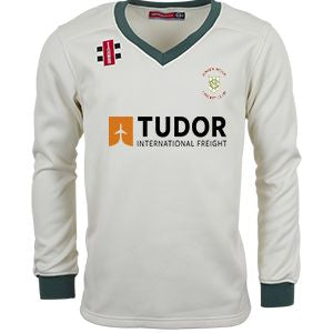 Green Moor CC LS Sweater With embroidered badge and sponsor