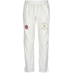 Green Moor CC Velocity playing trousers with embroidered badge