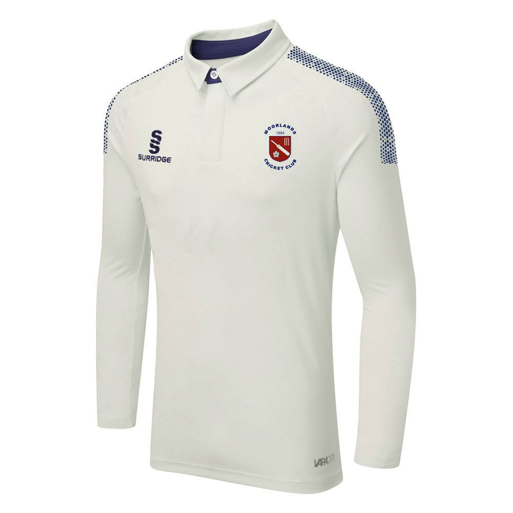 Moorlands CC Dual L/S Playing Shirt with embroidered badge &  sponsor prints