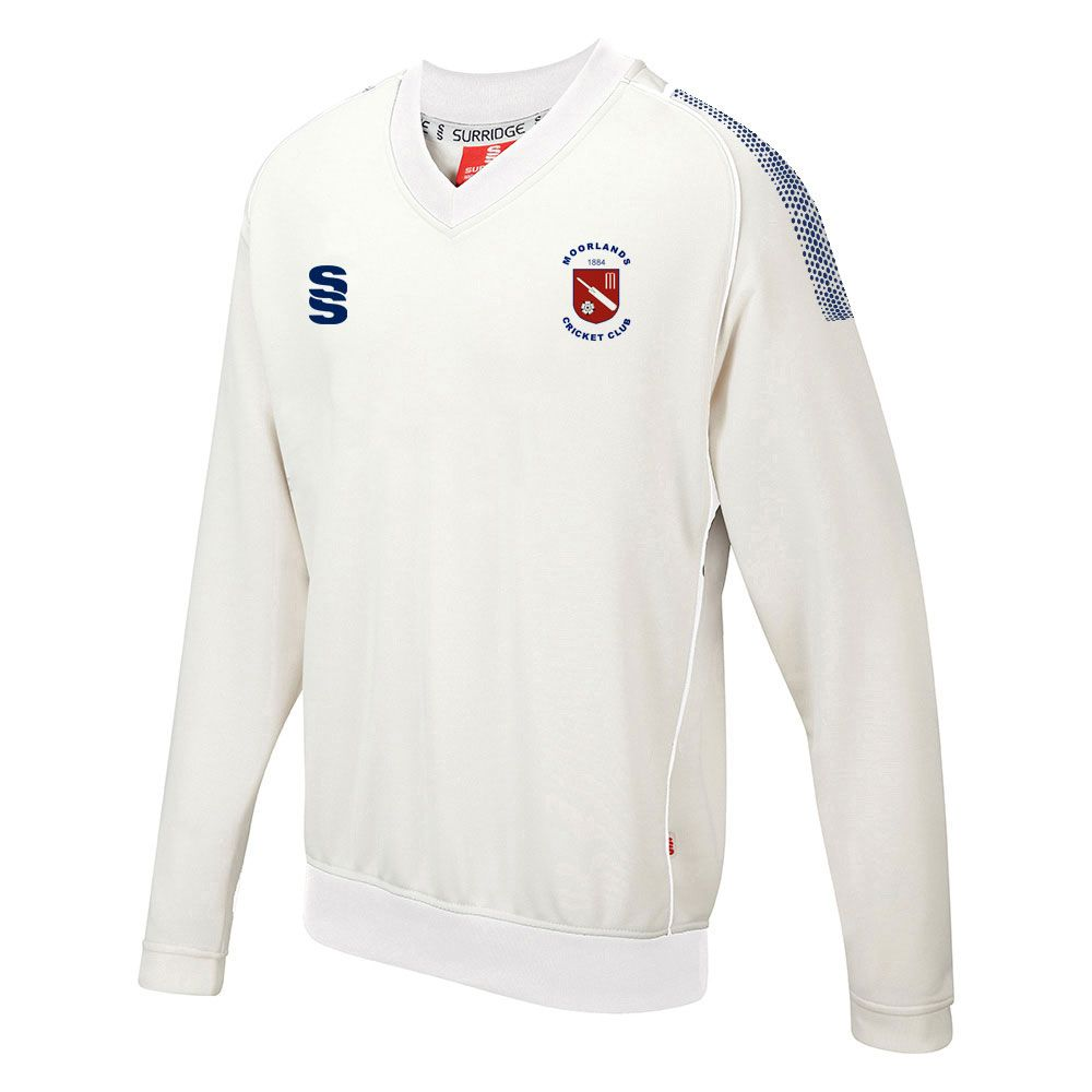 Moorlands CC Dual L/S Sweater with embroidered badge and sponsor prints