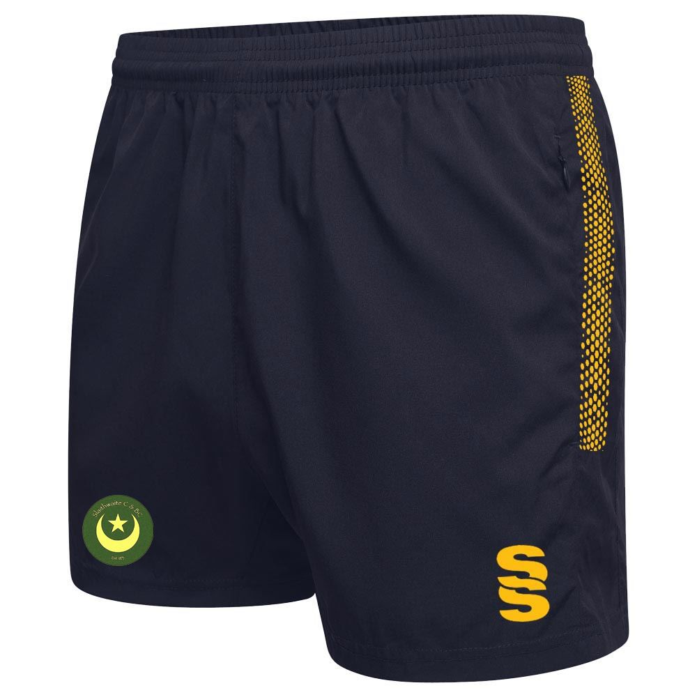Slaithwaite CC Training Shorts Navy/Amber