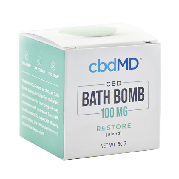 cbdMD Bath Bomb 100mg | Restore - Box