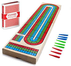 Cribbage Board 3 colour Track w/pegs and storage