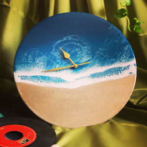 Open image in slideshow, Time Piece - Ocean Vinyl Clock