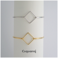 Geometric Square Bangle - Gold/ Silver