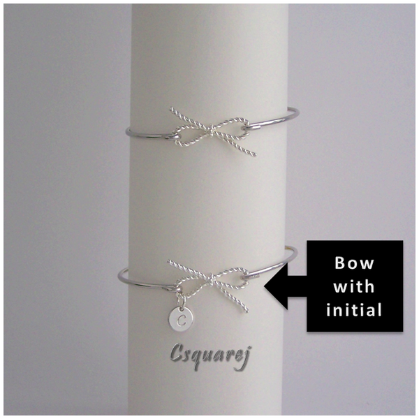 Twisted Bow Bangle - Silver