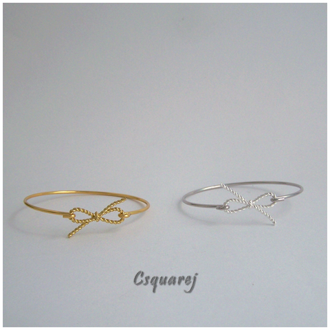 Online Only Offers - Twisted Bow Bangle - Gold/ Silver