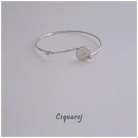 Online Only Offers - Personalized Initial Silver Charm Bangle