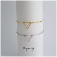 Online Only Offers - Geometric Triangle Bangle - Gold/ Silver - Online Offer Only