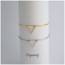 Geometric Triangle Bangle - Gold/ Silver - Online Offer Only