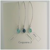 Minimalist Dainty Color Drop Dangling Silver Earrings
