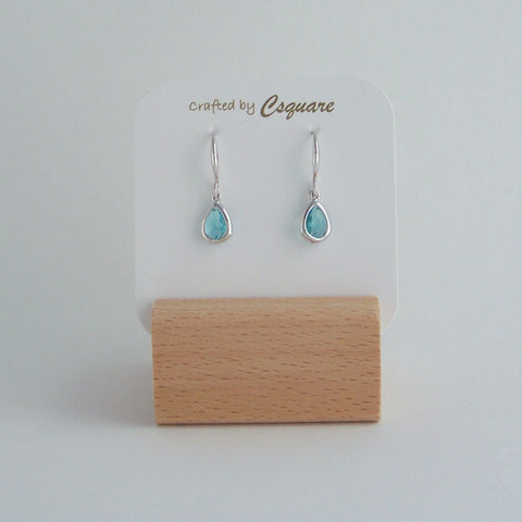 Online Only Offers -Dainty Drop Color Silver Earrings