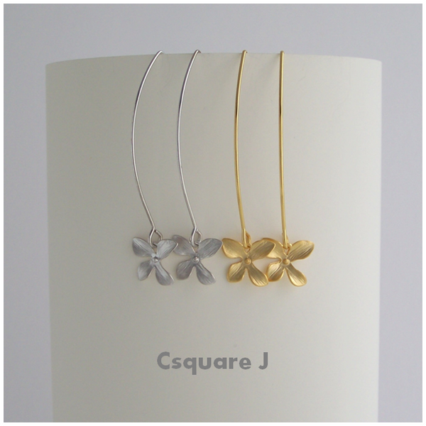 Dainty Orchid Dangling Gold/ Silver Earrings