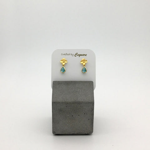 Petite Flowers Dainty Drop Earrings - Aqua color