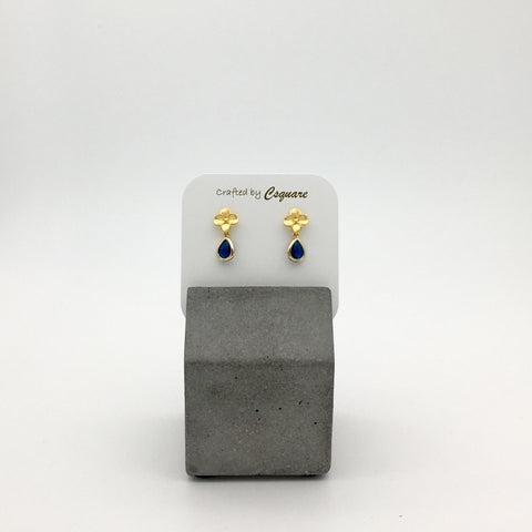 Petite Flowers Dainty Drop Earrings - Sapphire color